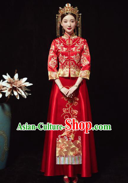 Chinese Traditional Wedding Xiuhe Suits Ancient Bride Embroidered Dress for Women