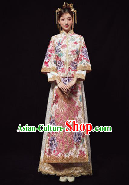 Chinese Traditional Wedding Costumes Embroidered Peacock Xiuhe Suits Ancient Bride Dress for Women
