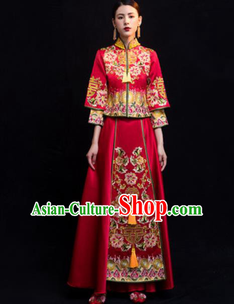 Traditional Chinese Wedding Costumes Ancient Bride Embroidered Peony Dress for Women
