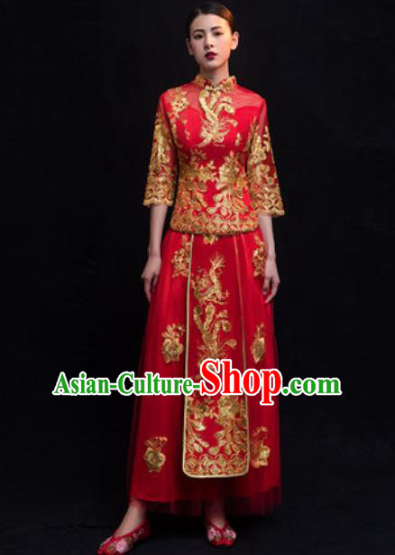 Traditional Chinese Wedding Costumes Ancient Bride Embroidered Red Veil Dress for Women