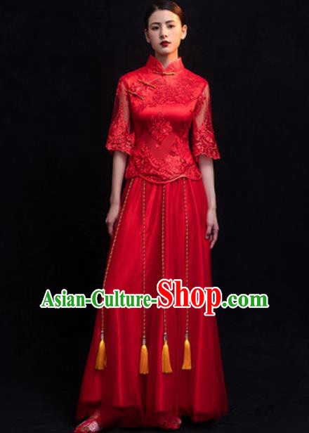 Traditional Chinese Wedding Costumes Ancient Bride Embroidered Red Lace Dress for Women