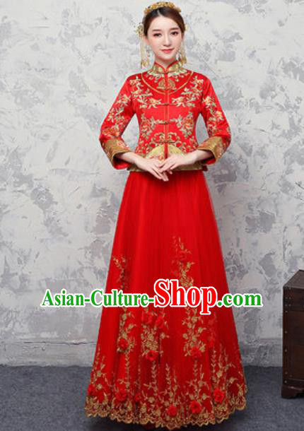 Traditional Chinese Wedding Costumes Ancient Bride Embroidered Peony Red Dress for Women