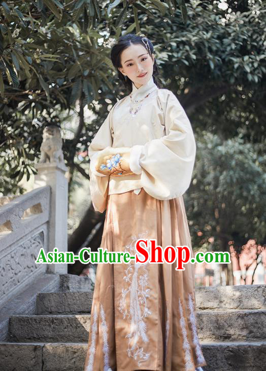 Chinese Ancient Ming Dynasty Princess Hanfu Dress Traditional Embroidered Costumes for Women