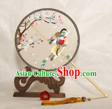 Chinese Traditional Palace Fans Embroidered Mandarin Duck Fans Ancient Hanfu Silk Fan for Women