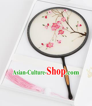 Chinese Traditional Palace Fans Embroidered Peach Blossom Fans Ancient Hanfu Silk Round Fan for Women