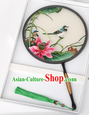 Chinese Traditional Palace Fans Embroidered Pink Lotus Fans Ancient Hanfu Silk Round Fan for Women