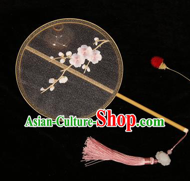 Chinese Traditional Palace Fans Hanfu Embroidered Pink Plum Blossom Fans Ancient Silk Fan for Women