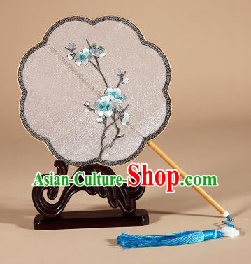 Chinese Traditional Palace Fans Hanfu Embroidered White Plum Blossom Fans Ancient Silk Fan for Women
