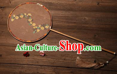 Chinese Traditional Palace Fans Hanfu Hand Painting Round Fans Ancient Brown Silk Fan for Women
