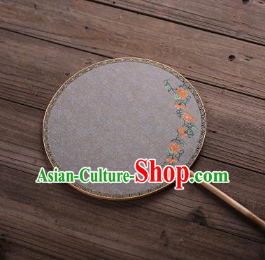 Chinese Traditional Palace Fans Hanfu Hand Painting Flowers Round Fans Ancient White Silk Fan for Women