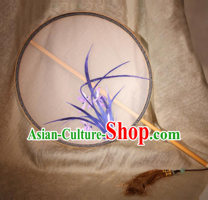 Chinese Ancient Traditional Palace Fans Hanfu Embroidered Orchid Round Fans Silk Fan for Women