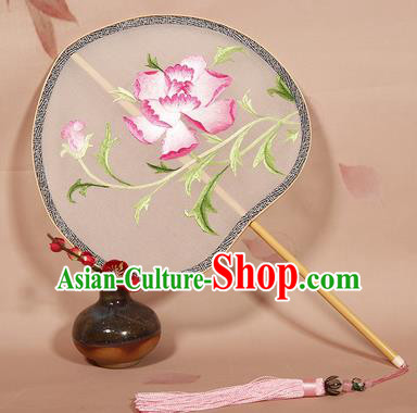 Chinese Ancient Princess Palace Fan Traditional Embroidered Pink Peony Hanfu Silk Fans for Women