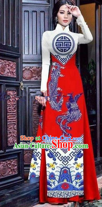 Asian Vietnam Traditional Printing Phoenix Red Cheongsam Vietnamese Ao Dai Qipao Dress for Women