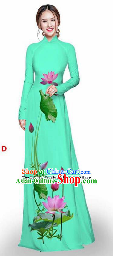Asian Vietnam Traditional Light Green Cheongsam Vietnamese Printing Lotus Ao Dai Qipao Dress for Women
