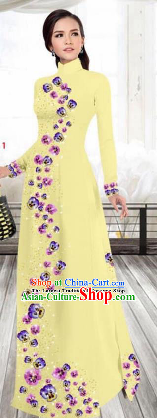 Asian Vietnam Traditional Female Costume Vietnamese Printing Yellow Cheongsam Ao Dai Qipao Dress for Women