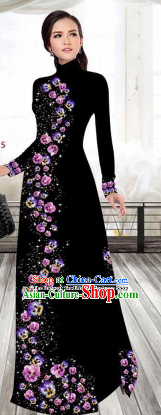 Asian Vietnam Traditional Female Costume Vietnamese Printing Black Cheongsam Ao Dai Qipao Dress for Women