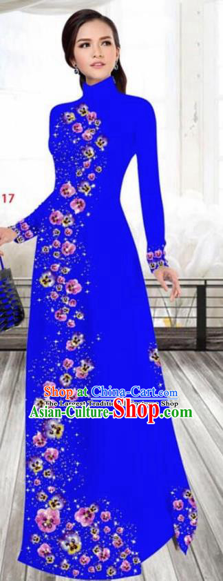 Asian Vietnam Traditional Female Costume Vietnamese Printing Royalblue Cheongsam Ao Dai Qipao Dress for Women