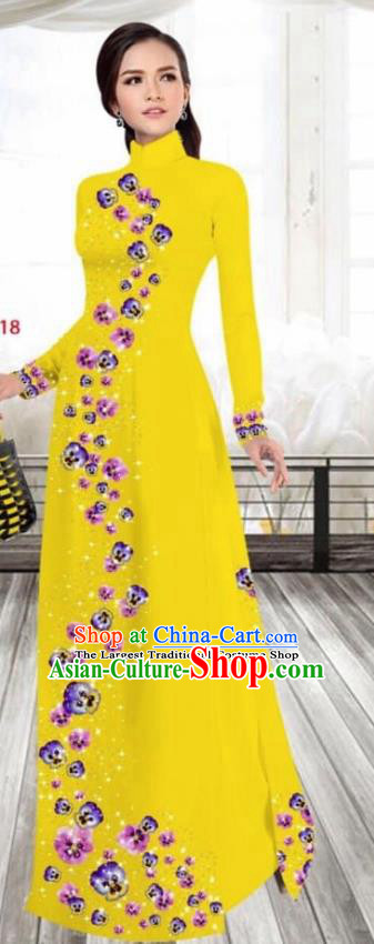 Asian Vietnam Traditional Female Costume Vietnamese Printing Bright Yellow Cheongsam Ao Dai Qipao Dress for Women