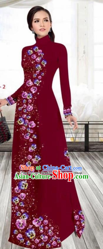 Asian Vietnam Traditional Female Costume Vietnamese Printing Purplish Red Cheongsam Ao Dai Qipao Dress for Women