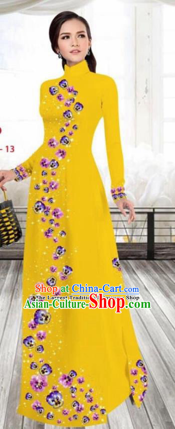 Asian Vietnam Traditional Female Costume Vietnamese Printing Ginger Cheongsam Ao Dai Qipao Dress for Women