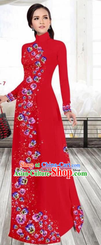 Asian Vietnam Traditional Female Costume Vietnamese Printing Red Cheongsam Ao Dai Qipao Dress for Women