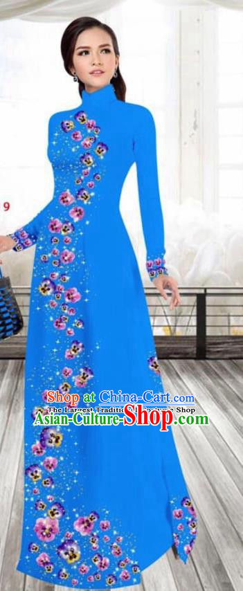 Asian Vietnam Traditional Female Costume Vietnamese Printing Blue Cheongsam Ao Dai Qipao Dress for Women