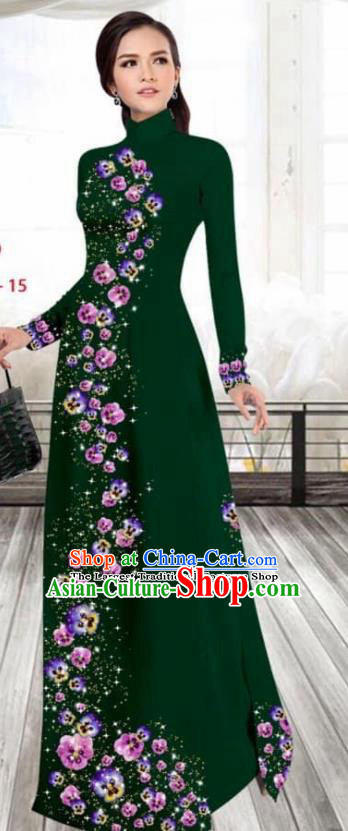 Asian Vietnam Traditional Female Costume Vietnamese Printing Deep Green Cheongsam Ao Dai Qipao Dress for Women