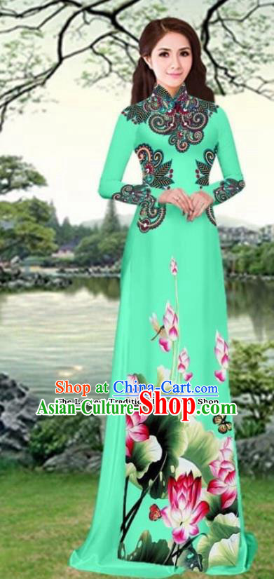 Asian Traditional Vietnam Female Costume Vietnamese Printing Lotus Green Cheongsam Ao Dai Qipao Dress for Women