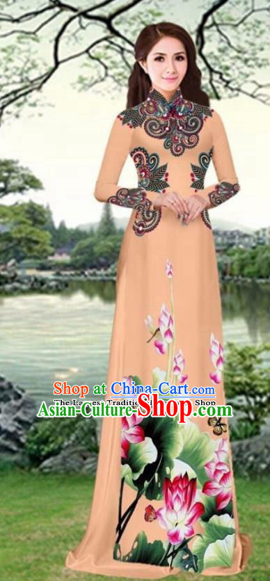 Asian Traditional Vietnam Female Costume Vietnamese Printing Lotus Khaki Cheongsam Ao Dai Qipao Dress for Women
