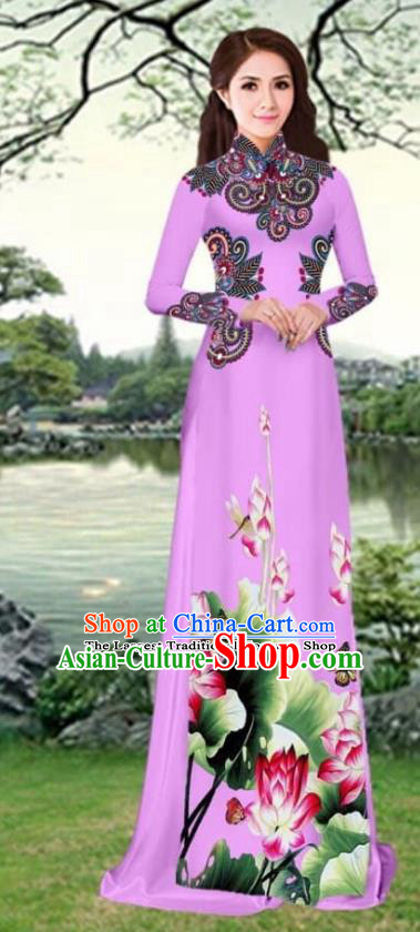 Asian Traditional Vietnam Female Costume Vietnamese Printing Lotus Lilac Cheongsam Ao Dai Qipao Dress for Women