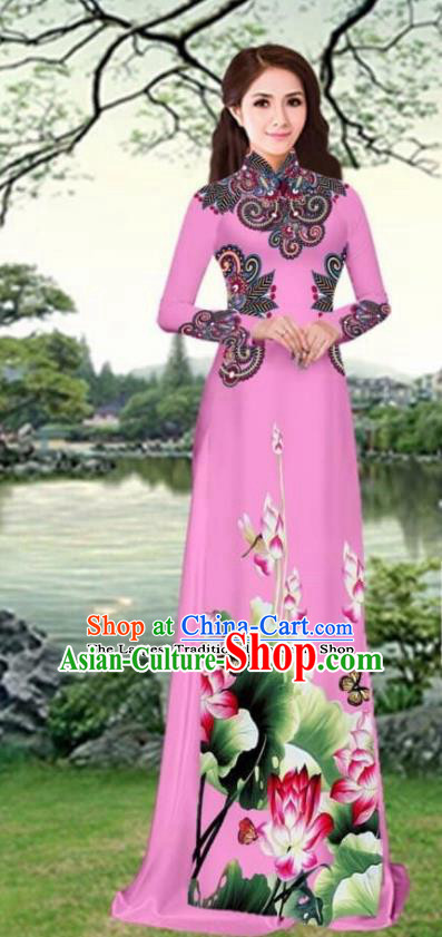 Asian Traditional Vietnam Female Costume Vietnamese Printing Lotus Pink Cheongsam Ao Dai Qipao Dress for Women