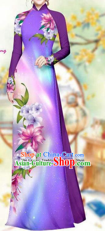 Asian Traditional Vietnam Female Costume Vietnamese Bride Purple Cheongsam Ao Dai Qipao Dress for Women