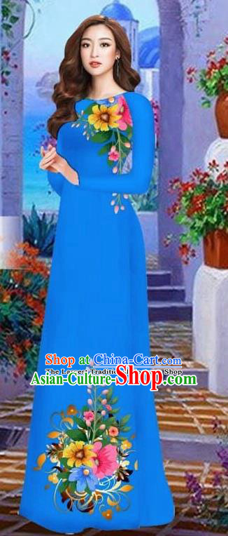 Asian Vietnam Traditional Female Costume Vietnamese Royalblue Cheongsam Printing Ao Dai Qipao Dress for Women