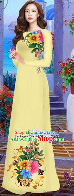Asian Vietnam Traditional Female Costume Vietnamese Yellow Cheongsam Printing Ao Dai Qipao Dress for Women