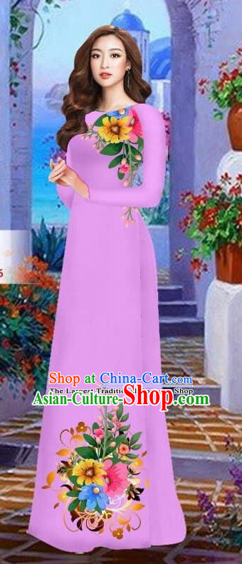 Asian Vietnam Traditional Female Costume Vietnamese Lilac Cheongsam Printing Ao Dai Qipao Dress for Women