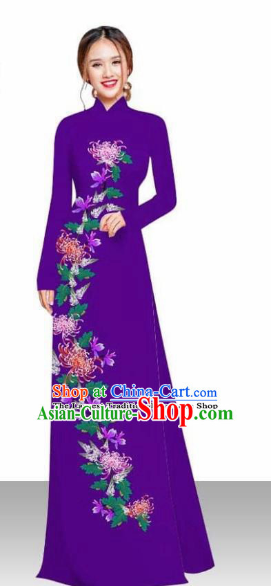 Asian Vietnam Traditional Female Costume Vietnamese Printing Chrysanthemum Purple Ao Dai Qipao Dress for Women