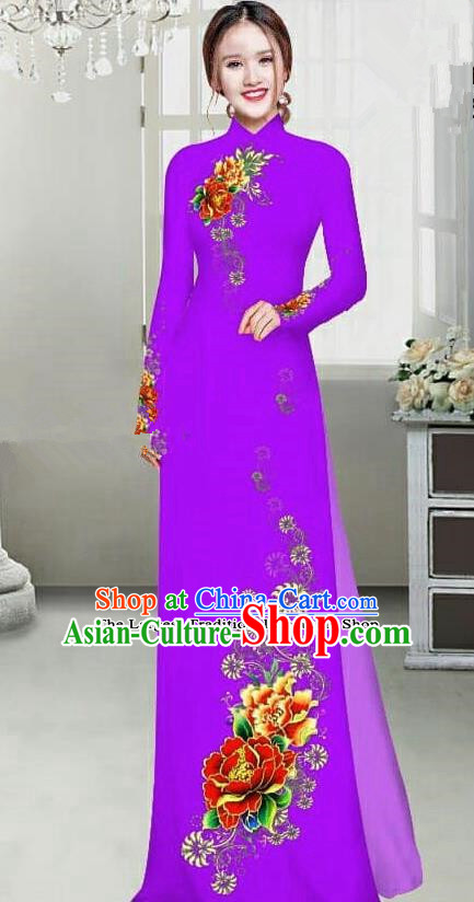 Asian Traditional Vietnam Female Ao Dai Costume Vietnamese Bride Printing Peony Purple Cheongsam for Women