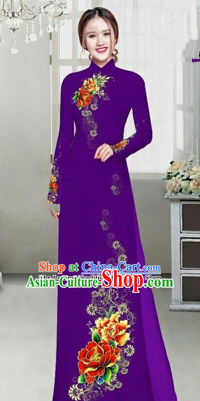 Asian Traditional Vietnam Female Ao Dai Costume Vietnamese Bride Printing Peony Deep Purple Cheongsam for Women