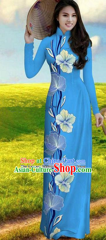 Vietnam Traditional Bride Costume Blue Qipao Dress Vietnamese Printing Morning Glory Ao Dai Cheongsam for Women