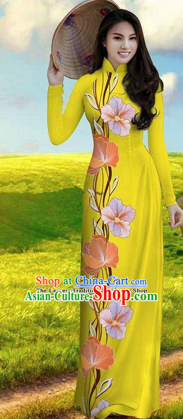 Vietnam Traditional Bride Costume Yellow Qipao Dress Vietnamese Printing Morning Glory Ao Dai Cheongsam for Women