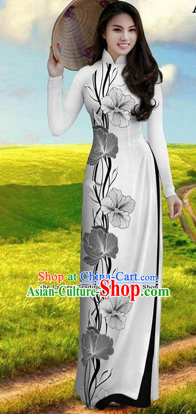 Vietnam Traditional Bride Costume Ao Dai Qipao Dress Vietnamese Printing Morning Glory Cheongsam for Women