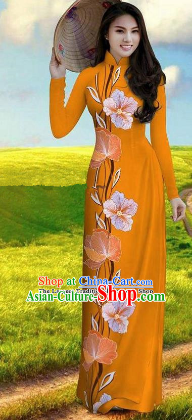 Vietnam Traditional Bride Costume Orange Qipao Dress Vietnamese Printing Morning Glory Ao Dai Cheongsam for Women
