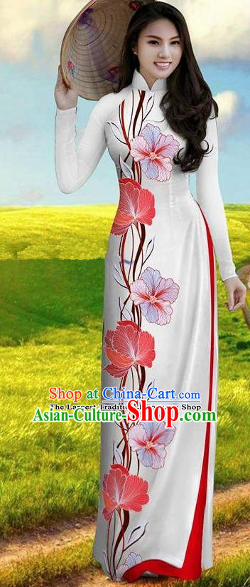Vietnam Traditional Bride Costume Rosy Ao Dai Qipao Dress Vietnamese Printing Morning Glory Cheongsam for Women