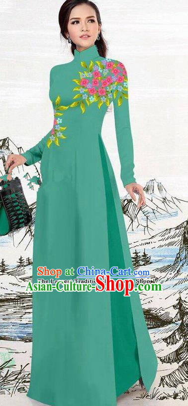Asian Traditional Vietnam Female Costume Vietnamese Green Ao Dai Cheongsam for Women