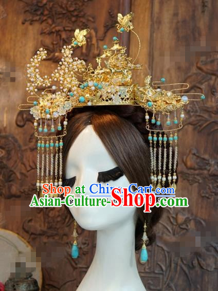 Chinese Ancient Hair Jewelry Accessories Queen Phoenix Coronet Tassel Hairpins Headdress for Women
