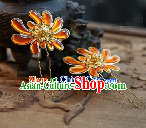 Chinese Ancient Wedding Hair Jewelry Accessories Queen Chrysanthemum Hairpins for Women