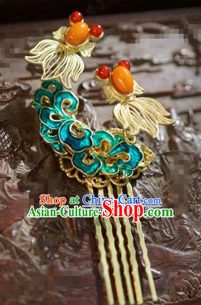 Chinese Ancient Wedding Hair Jewelry Accessories Blueing Hair Comb Hairpins for Women