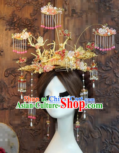 Chinese Ancient Wedding Queen Tassel Phoenix Coronet Hair Jewelry Accessories Hairpins for Women