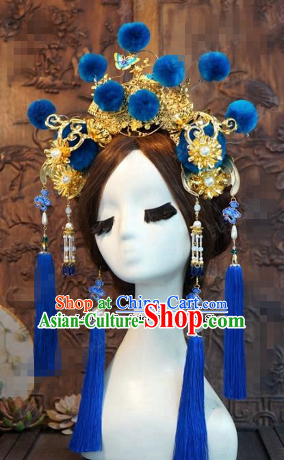 Chinese Ancient Wedding Queen Blue Phoenix Coronet Hair Jewelry Accessories Hairpins for Women