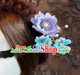 Chinese Ancient Wedding Queen Hair Jewelry Accessories Purple Lotus Hairpins for Women